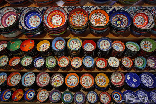 Ceramic bowls at a show in the Grand Basar in Istanbul