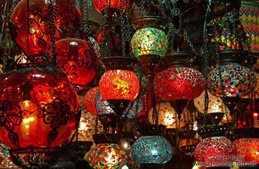 Colourful lights at a shop in the Egyptian (Spice) Basar in Istanbul