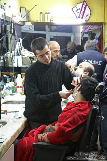 Getting a shave in Istanbul