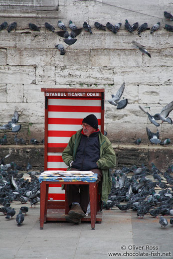 Selling pigeon food outside the Yeni Mosque in Istanbul