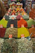 Travel photography:Display of spices and teas at the Egyptian (Spice) Basar in Istanbul, Turkey