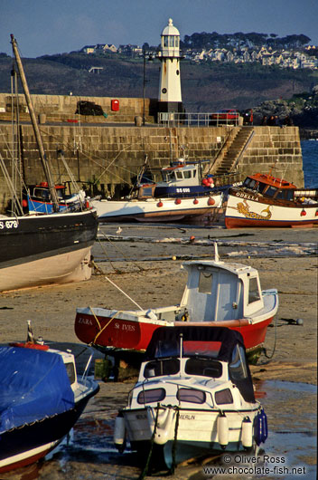 Fishing harbour and lighthouse in Cornwall