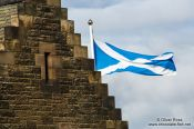 Travel photography:Edinburgh castle with Scottish flag, United Kingdom