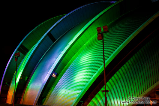 Facade detail of the Glasgow Clyde Auditorium by night