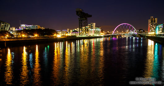 Panorama of the River Clyde by night