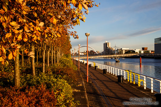 Glasgow River Clyde with trees in autumn colour