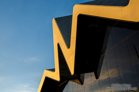 Roof detail of the Glasgow Riverside Museum at sunset