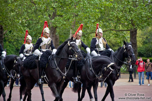Parade of the horse guard outside London´s Buckingham Palace