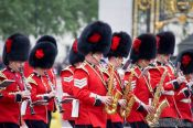 Travel photography:Palace guards parading outside London´ Buckingham, United Kingdom, England