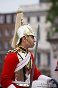 Travel photography:Horse guard parading outside London´s Buckingham Palace, United Kingdom, England