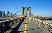 Travel photography:New York Brooklyn Bridge with Lower Manhattan, USA