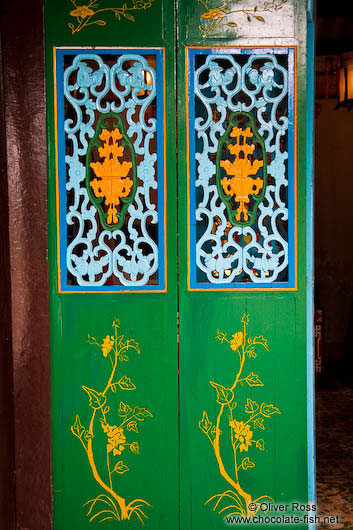 Colourful doors at a Chinese assembly hall in Hoi An