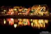 Travel photography:Houses at the Hoi An river by night , Vietnam