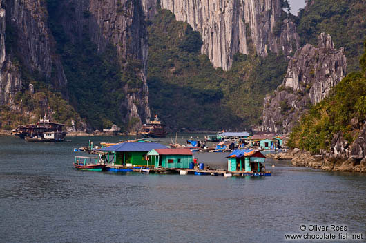 Floating houses in Halong Bay