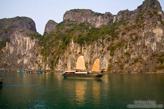 A Junk ship in Halong Bay