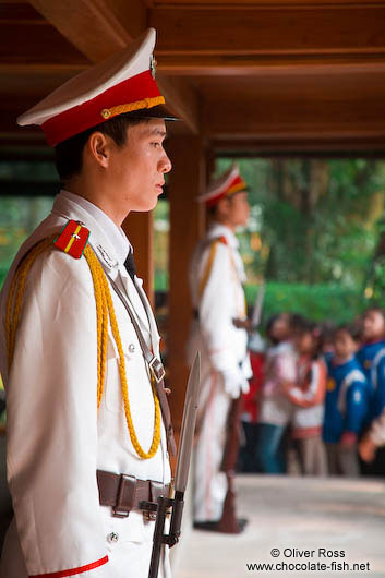Guard at Hoh Chi Minh´s Stilt House in Hanoi