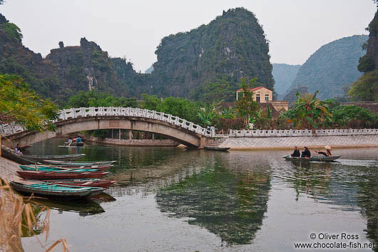 Tourist boats at Tam Coc