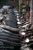 Travel photography:Parked motorbikes in Hanoi, Vietnam