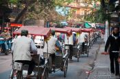 Travel photography:Line of cycle rickshas in Hanoi, Vietnam