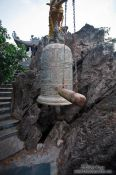 Travel photography:Large bell atop the mountain at Ninh Binh´s island temple , Vietnam