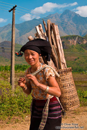 Hmong woman with fire wood near Sapa