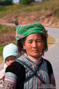 Travel photography:Hmong mother with child near Sapa , Vietnam
