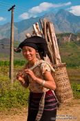 Travel photography:Hmong woman with fire wood near Sapa, Vietnam