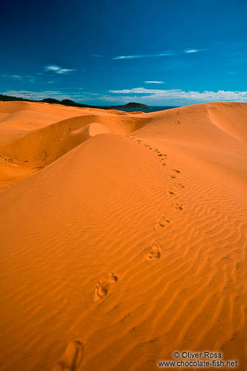 Foot step traces in the giant red sand dunes near Mui Ne