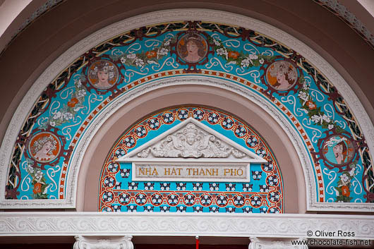 Detail above the entrance portal to the Hoh Chi Minh City Municipal Theatre