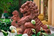 Travel photography:Sculpted lions in Cong Vien Van Ho Park in in Hoh Chi Minh City, Vietnam