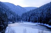 Travel photography:Partly frozen lake near Oberhof, Germany
