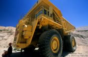 Travel photography:Giant truck at the Chuquicamata mine, Chile