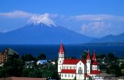 Travel photography:Puerto Varas Church and Volcan Osorno, Chile