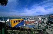 Travel photography:Panorama over Valparaiso with the Ascensor Artilleria, Chile